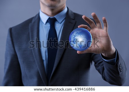Businessman in globalisation global business concept - stock photo