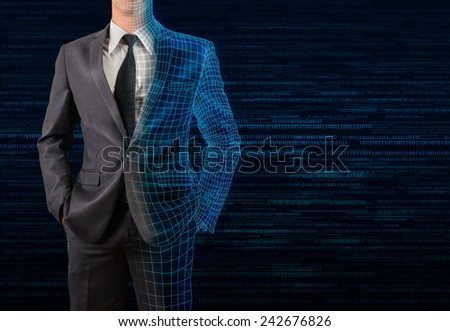 businessman in gray suit transforming to 3D wire frame and digital background - stock photo