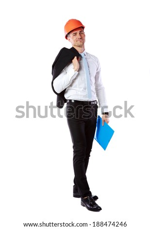 Businessman in helmet with blue folder over white background - stock photo