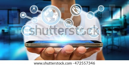 Businessman in his office using a digital web network with his mobile phone 3D rendering
