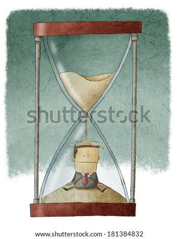 Businessman in hourglass - stock photo