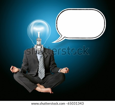 businessman in lotus pose and lamp-head with thought bubble - stock photo