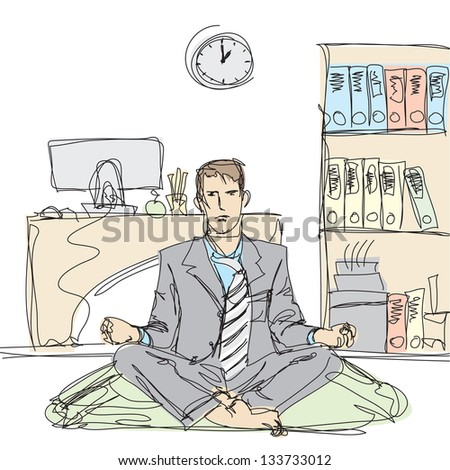 businessman in lotus pose meditating at the office - stock photo