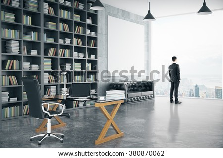 Businessman in modern personal office with big bookcase, sofa, glassy table and blank poster, mock up 3D Render - stock photo