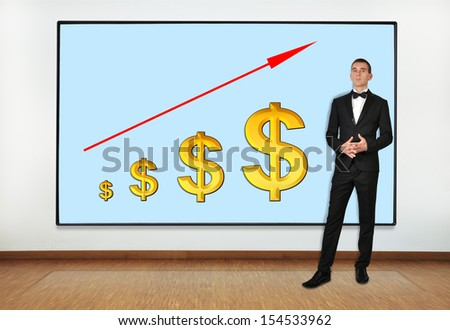 businessman in office and big plasma on wall with arrow