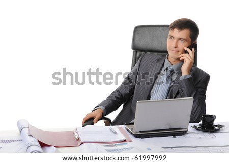 Businessman in office talking on the phone. Isolated on white background - stock photo