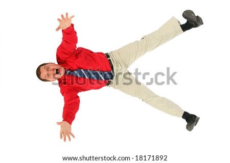 Businessman in  red shirt  falls - stock photo