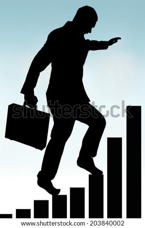 businessman in silhouette climbing a bar chart  - stock photo