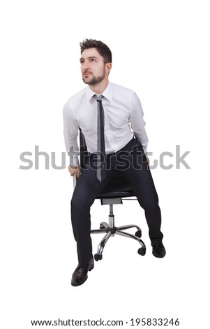 businessman in start up on a white background - stock photo