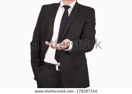 businessman in suit and tie headless isolated on white
