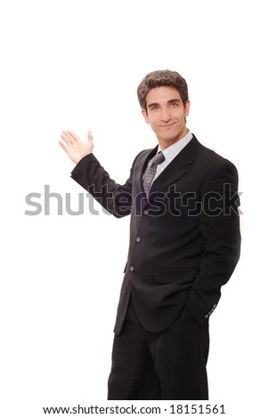 Businessman in suit doing a presentation - stock photo