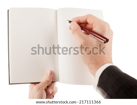 Businessman in suit holding an empty notepad (notebook) isolated on white - stock photo