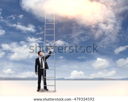 Businessman in suit holding tall ladder on sky background. Success concept