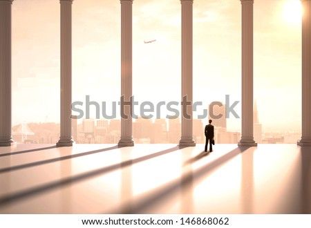 businessman in suit in the classic hall - stock photo