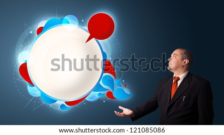 businessman in suit presenting abstract modern copy space