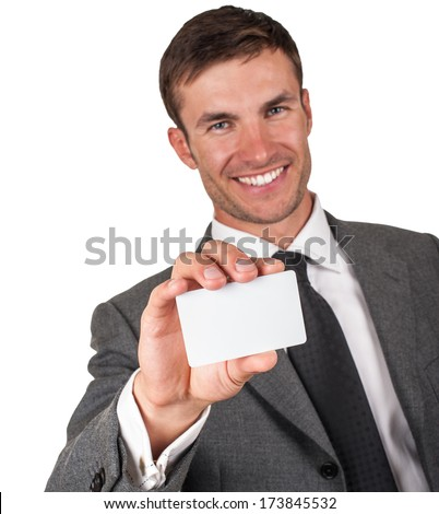 Businessman in  suit , shows business card , isolated on a white background - stock photo