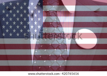 Businessman in suit with blank badges and american flag, concept of American election