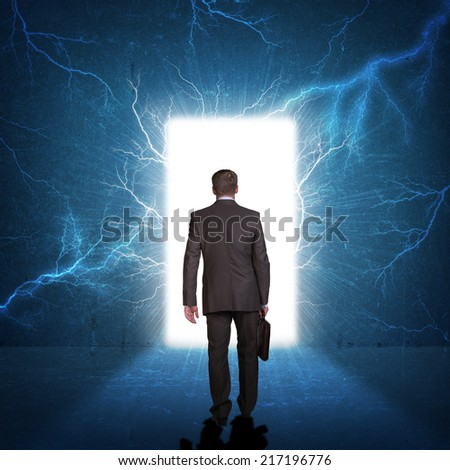 Businessman in suit with briefcase stepping through door & View Through Door Stock Images Royalty-Free Images \u0026 Vectors ... Pezcame.Com