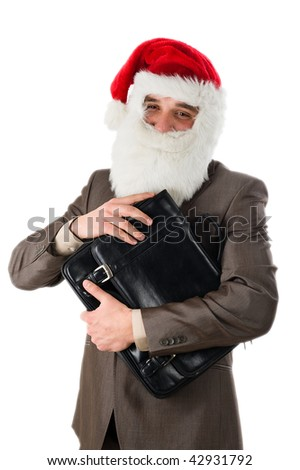 Businessman in suit with santa hat on head. Isolated over white background - stock photo