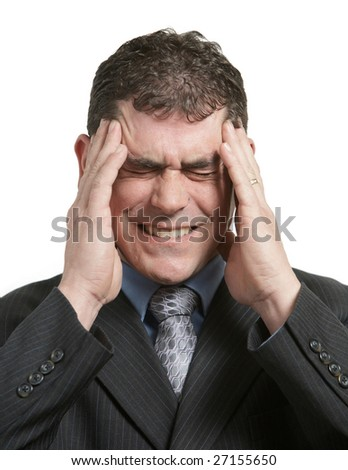 Businessman in suit with stress headache on white - stock photo