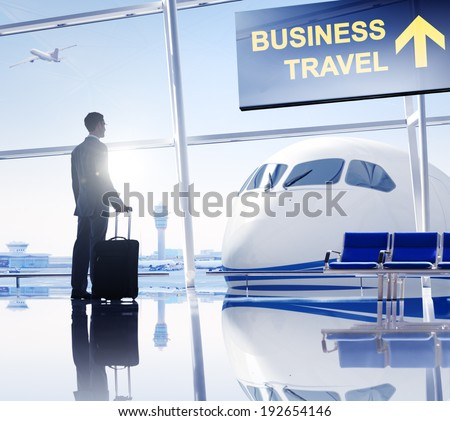 Businessman in the Airport - stock photo