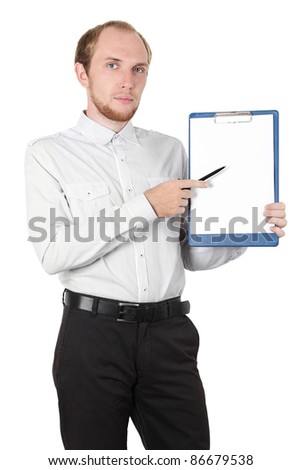 businessman in white shirt showing paper document isolated