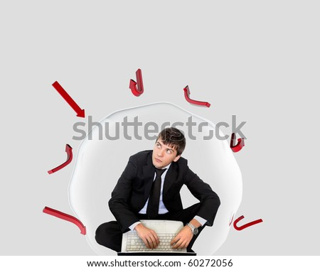 businessman inside a bubble - stock photo
