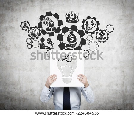 Businessman inventing a business investment scheme.  - stock photo