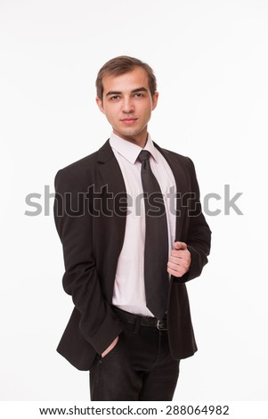 Businessman involving tact, financial and business intelligence, courage. Man dressed in business suit isolated on white. - stock photo