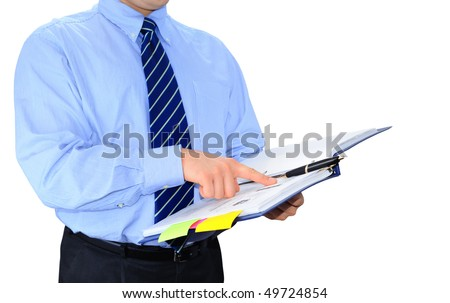 Businessman is checking a todo list - stock photo