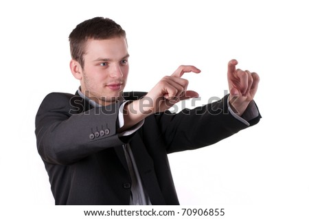 Businessman is considering - stock photo