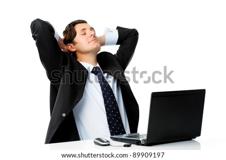 Businessman is distracted while on the job - stock photo