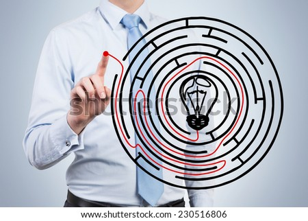 Businessman is drawing a shortcut of the problem. . - stock photo