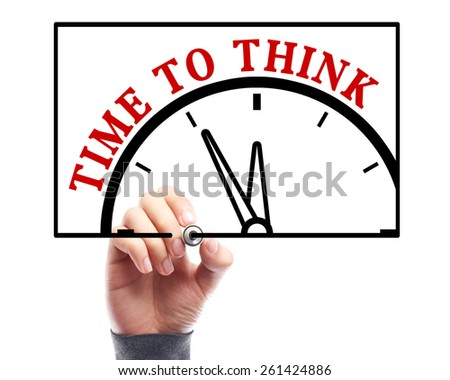Businessman is drawing the concept of time to think on transparent white board. - stock photo