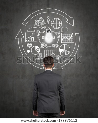Businessman is looking at the wall's flow chart and trying to imply it into a new start up project. - stock photo