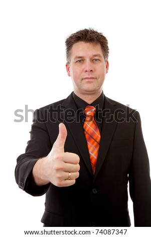 businessman is pleased with thumbs up, isolated on white background