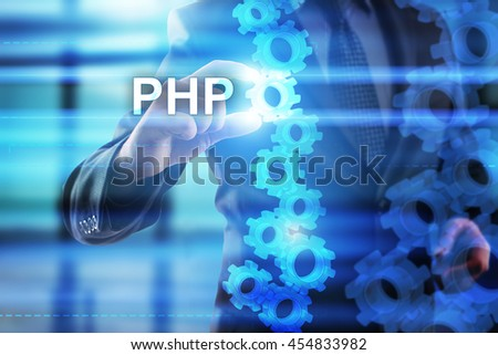 Businessman is selecting PHP on the virtual screen.