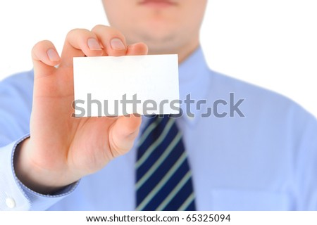 Businessman is showing his business card