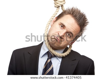 Businessman is standing with head in gibbet sling, because of financial crisis. Isolated on white. - stock photo