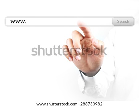 Businessman is touching the www search bar with his hand isolated on white background. - stock photo
