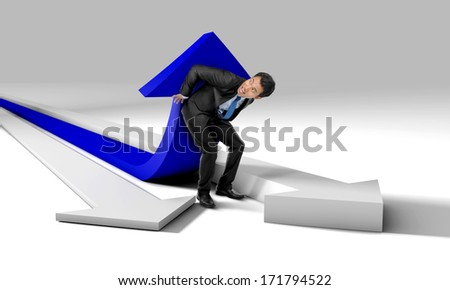 Businessman is trying to push and increase market statistics - stock photo