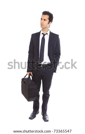 Businessman is waiting for an answer, isolated on white - stock photo