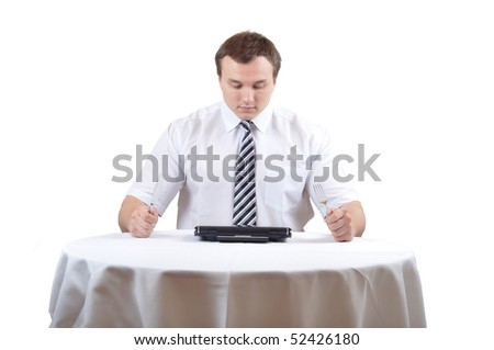 Businessman is waiting on meal with notebook, isolate white background. - stock photo
