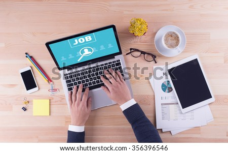 Businessman is working on desk - JOB - stock photo