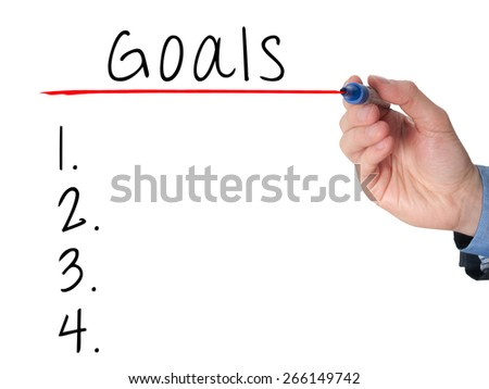 Businessman is writing goals list,  planning on whiteboard. Isolated on white. Stock Image - stock photo