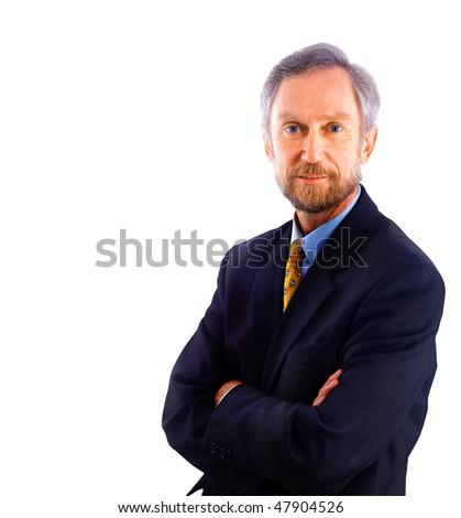 businessman isolated on white bacground - stock photo
