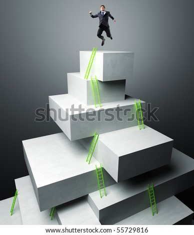 businessman jump over 3d virtual tower - stock photo