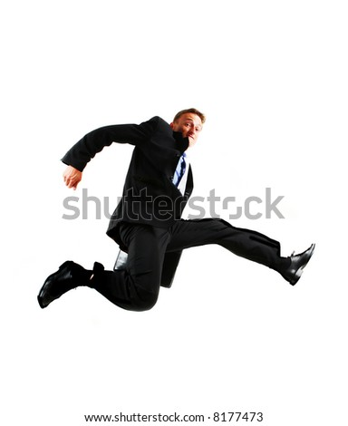 Businessman jumping - stock photo