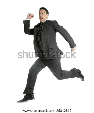 Businessman jumping at studio, full length isolated on white