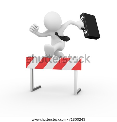 Businessman jumping over a hurdle obstacle - stock photo
